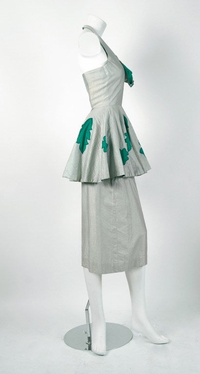 Lilli Diamond Green and Silver Shelf-Bust Halter Applique Peplum Dress, 1950s  In Excellent Condition For Sale In Beverly Hills, CA