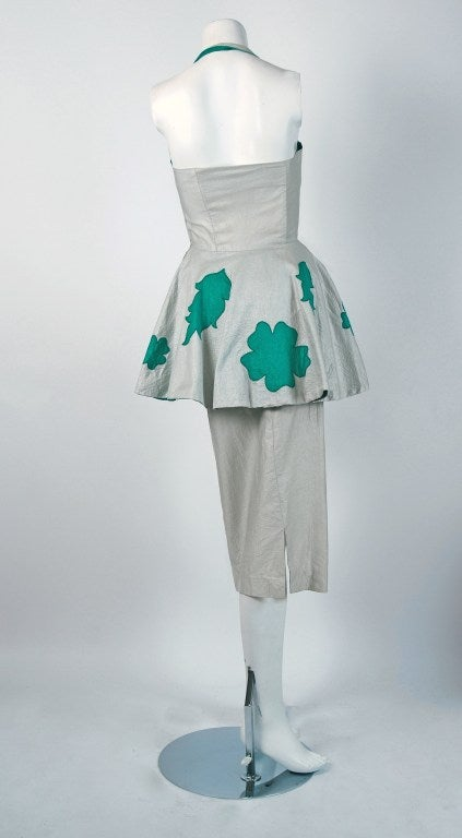 Women's Lilli Diamond Green and Silver Shelf-Bust Halter Applique Peplum Dress, 1950s  For Sale