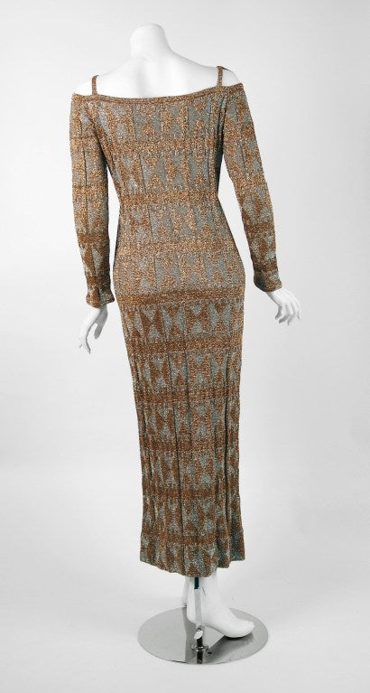 1960's Rudi Gernreich Metallic Gold Silver Geometric Knit Cut-Out Evening Gown In Excellent Condition For Sale In Beverly Hills, CA