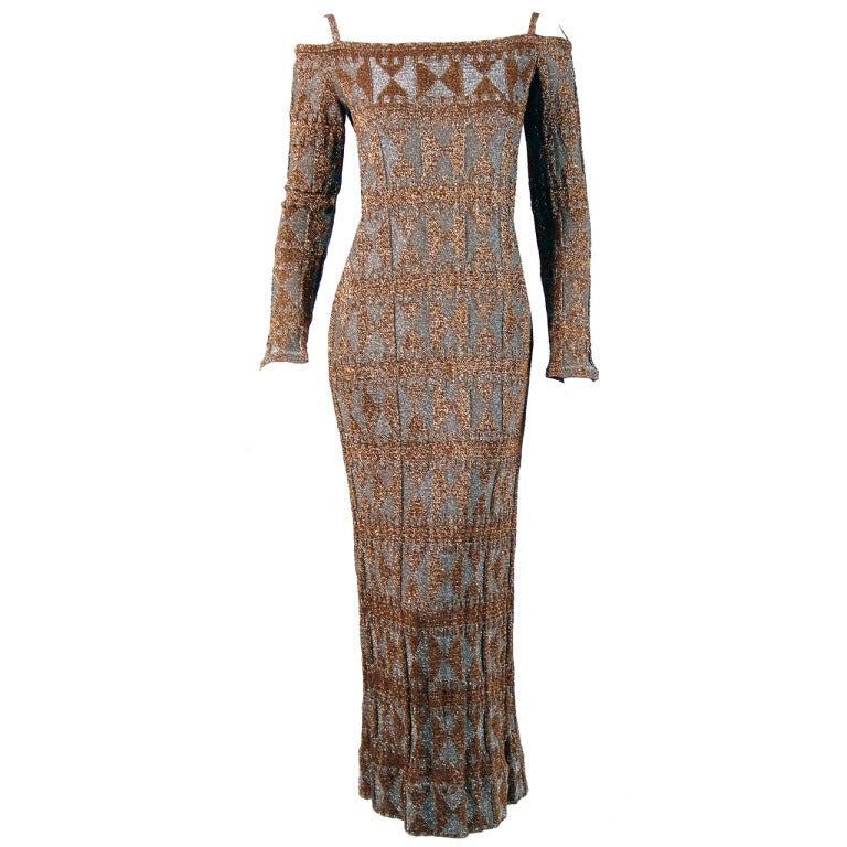 1960's Rudi Gernreich Metallic Gold Silver Geometric Knit Cut-Out Evening Gown For Sale