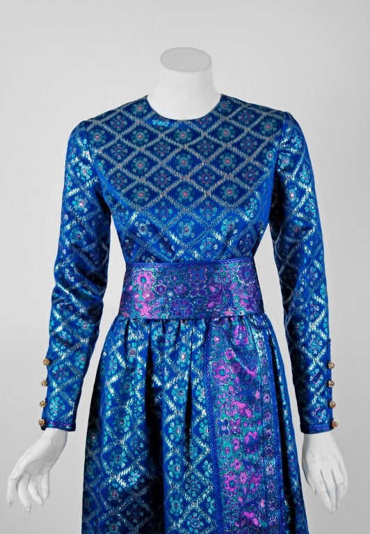 1960's Oscar de la Renta Sapphire-Blue Metallic Silk-Brocade Rhinestone Gown 2