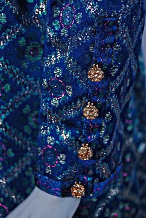 1960's Oscar de la Renta Sapphire-Blue Metallic Silk-Brocade Rhinestone Gown In Excellent Condition For Sale In Beverly Hills, CA