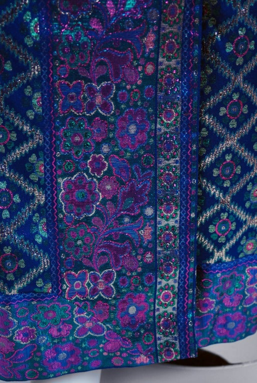 Women's 1960's Oscar de la Renta Sapphire-Blue Metallic Silk-Brocade Rhinestone Gown For Sale