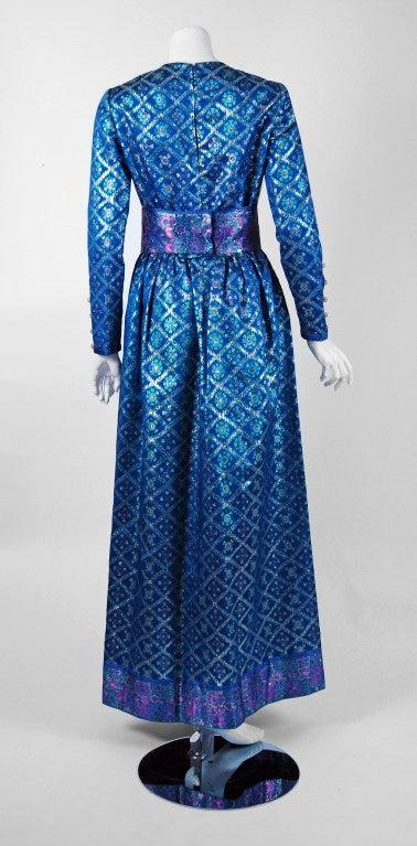 1960's Oscar de la Renta Sapphire-Blue Metallic Silk-Brocade Rhinestone Gown For Sale 1