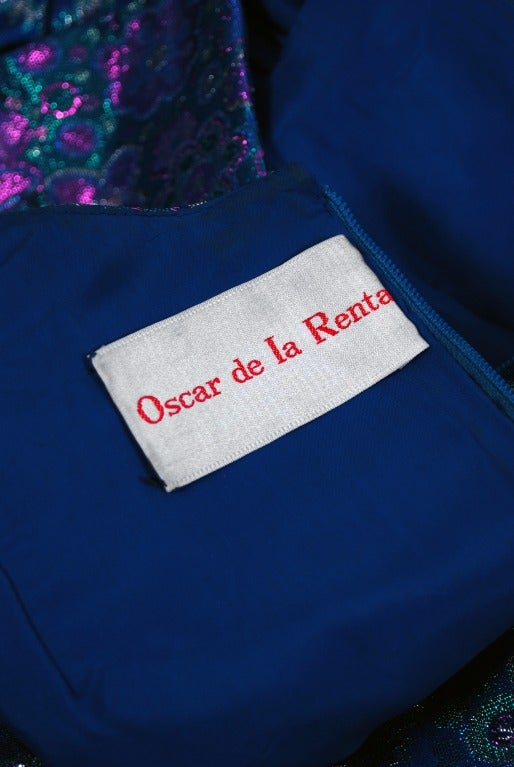 1960's Oscar de la Renta Sapphire-Blue Metallic Silk-Brocade Rhinestone Gown For Sale 2