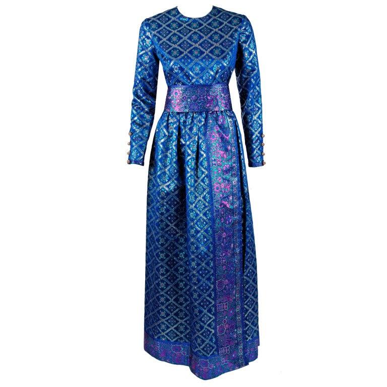 1960's Oscar de la Renta Sapphire-Blue Metallic Silk-Brocade Rhinestone Gown For Sale