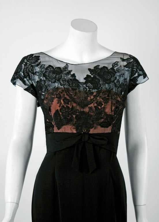 1950's Peggy Hunt Sheer Lace-Illusion Black Hourglass Evening Dress Gown 2