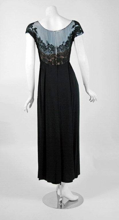1950's Peggy Hunt Sheer Lace-Illusion Black Hourglass Evening Dress Gown 5