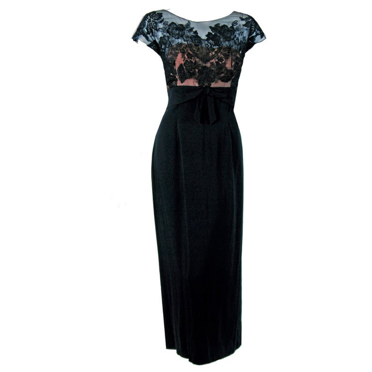 1950's Peggy Hunt Sheer Lace-Illusion Black Hourglass Evening Dress Gown 1