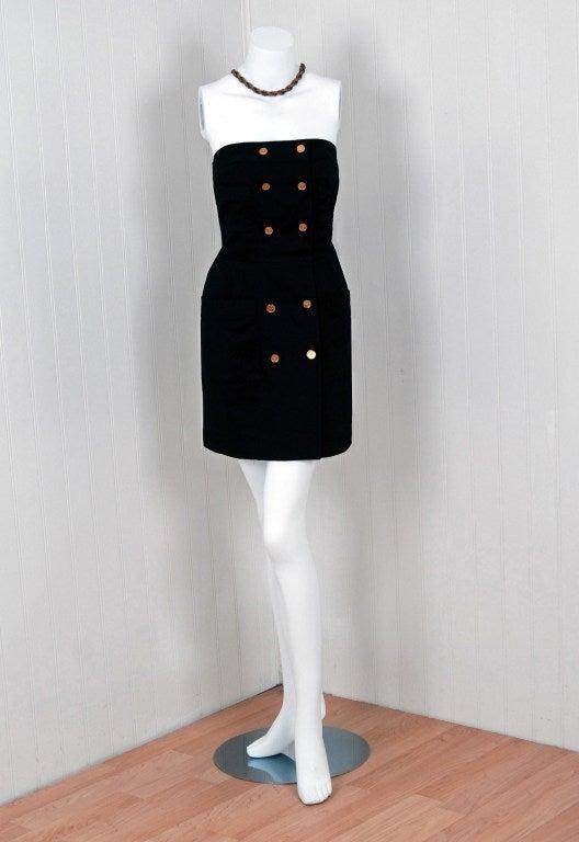1990's Chanel Black Strapless Sailor-Style Hourglass Mini Dress 2