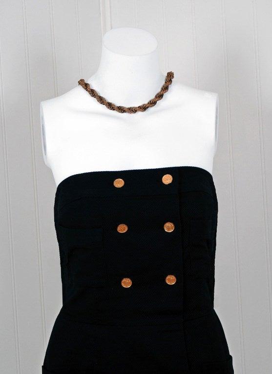 1990's Chanel Black Strapless Sailor-Style Hourglass Mini Dress 3