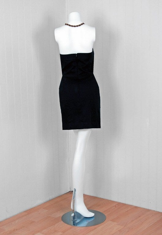 1990's Chanel Black Strapless Sailor-Style Hourglass Mini Dress 4