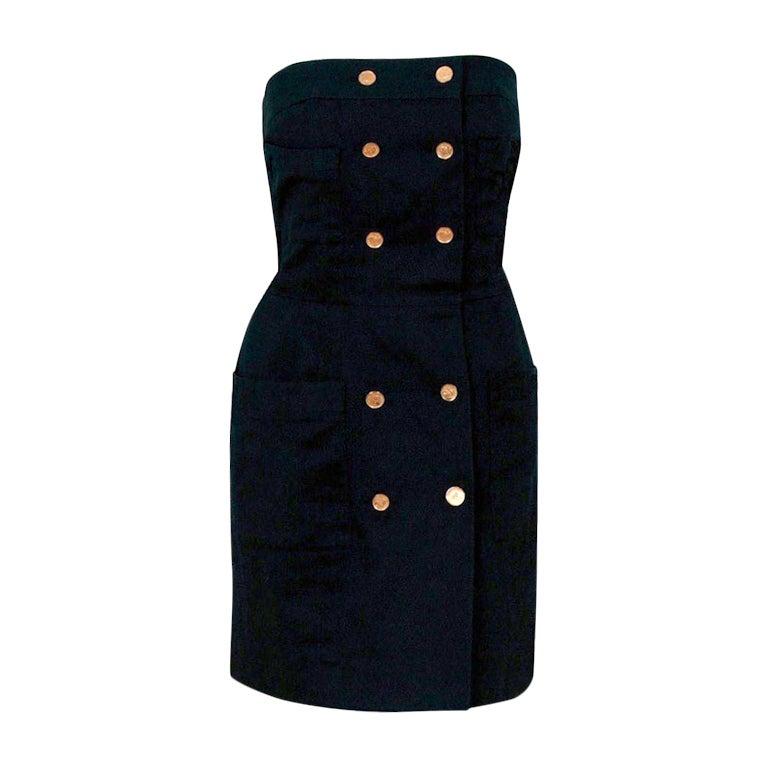 1990's Chanel Black Strapless Sailor-Style Hourglass Mini Dress 1