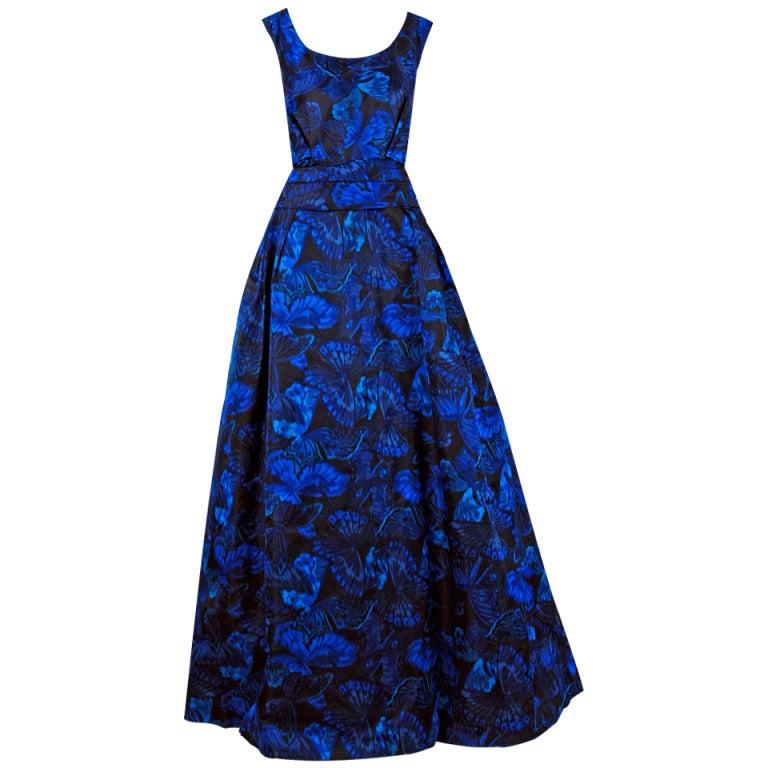 1950's Ceil Chapman Sapphire-Blue Butterfly Novelty-Print Silk Evening Ball Gown 1