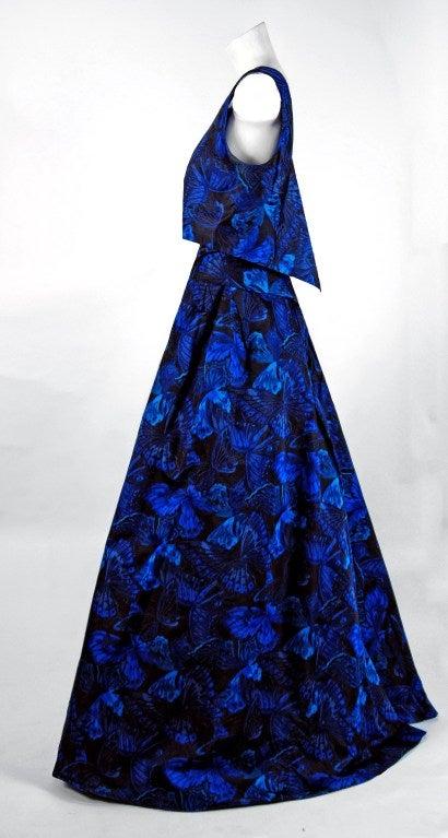 1950's Ceil Chapman Sapphire-Blue Butterfly Novelty-Print Silk Evening Ball Gown 2