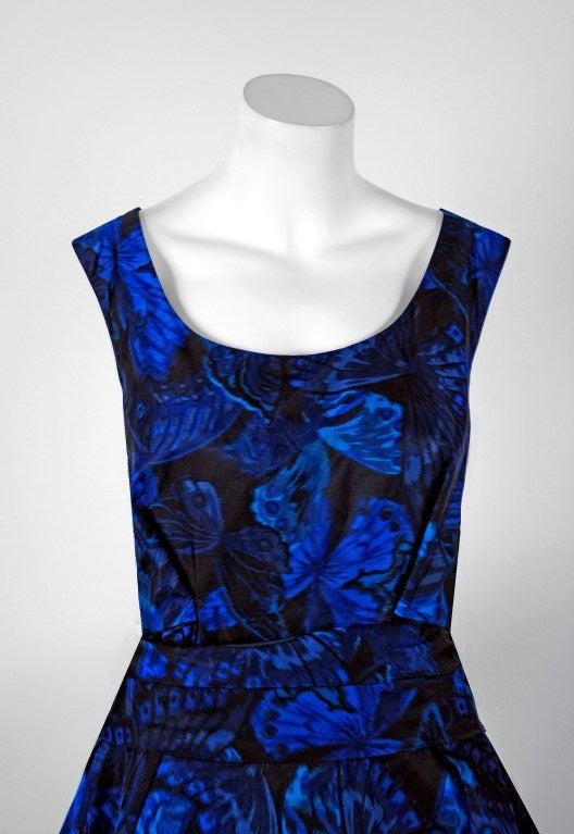 1950's Ceil Chapman Sapphire-Blue Butterfly Novelty-Print Silk Evening Ball Gown 3