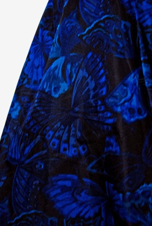 1950's Ceil Chapman Sapphire-Blue Butterfly Novelty-Print Silk Evening Ball Gown 4