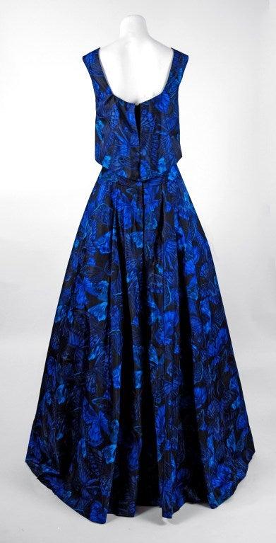 1950's Ceil Chapman Sapphire-Blue Butterfly Novelty-Print Silk Evening Ball Gown 5