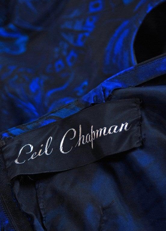 1950's Ceil Chapman Sapphire-Blue Butterfly Novelty-Print Silk Evening Ball Gown 6
