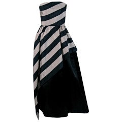 1950's Werle Black & Champagne Stripe Silk Strapless Asymmetric Dress Gown