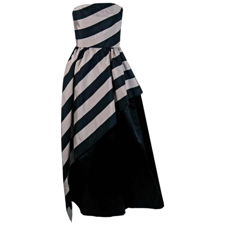 1950's Werle Black & Champagne Stripe Silk Strapless Asymmetric Dress Gown