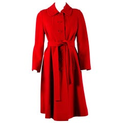 1960's Amelia Gray Ruby-Red Cashmere Belted Mod Princess Jacket Coat