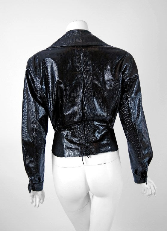 1990's Alaia Black Snakeskin-Embossed Leather Corset Motorcycle Jacket 3