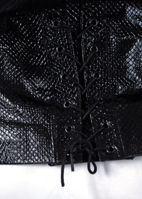 1990's Alaia Black Snakeskin-Embossed Leather Corset Motorcycle Jacket 4