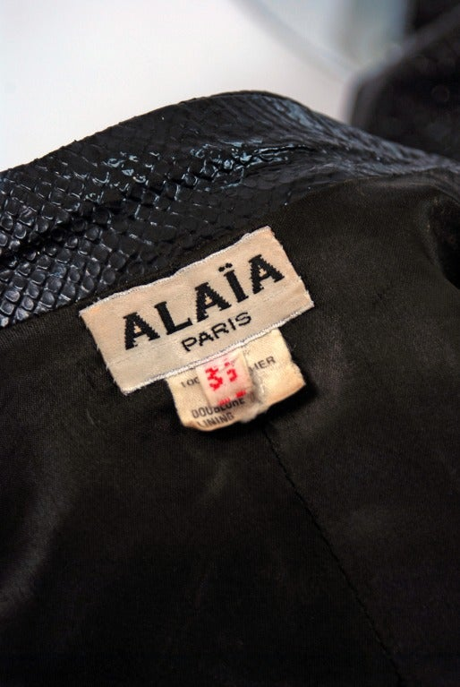 1990's Alaia Black Snakeskin-Embossed Leather Corset Motorcycle Jacket 5