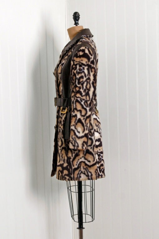 1960 S Stunning Leopard Animal Print Faux Fur Double