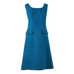 1960's Jean Patou Turquoise-Blue Linen Sleeveless Mod Space-Age Shift Dress
