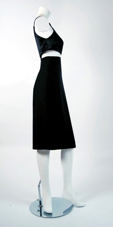 Women's 1990's Gianni Versace Black Silk Cut-Out Hourglass Cocktail Dress For Sale
