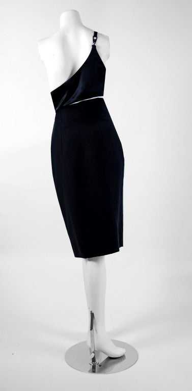 1990's Gianni Versace Black Silk Cut-Out Hourglass Cocktail Dress 5