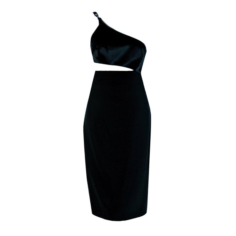 1990's Gianni Versace Black Silk Cut-Out Hourglass Cocktail Dress 1