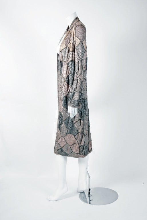 Gray 1920's Austrian Couture Metallic Deco Handmade Crochet Knit Flapper Jacket Coat For Sale