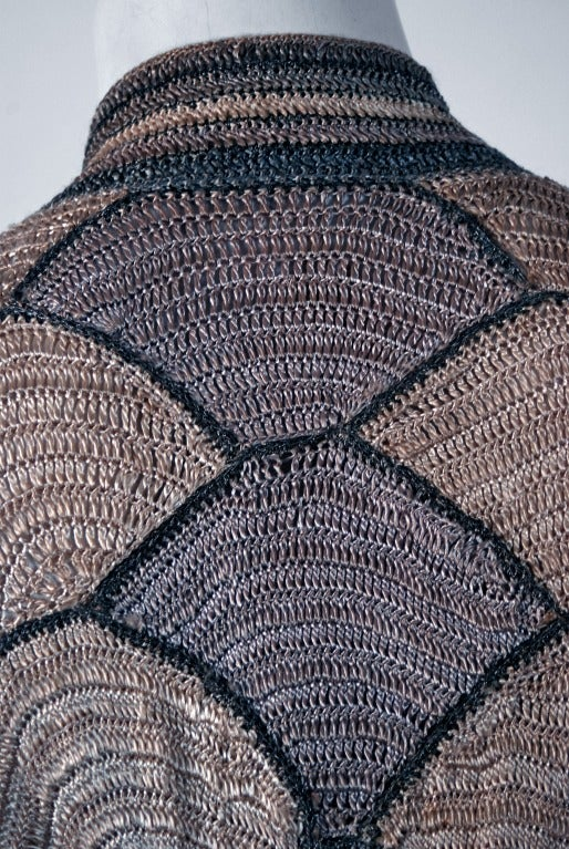1920's Austrian Couture Metallic Deco Handmade Crochet Knit Flapper Jacket Coat 4
