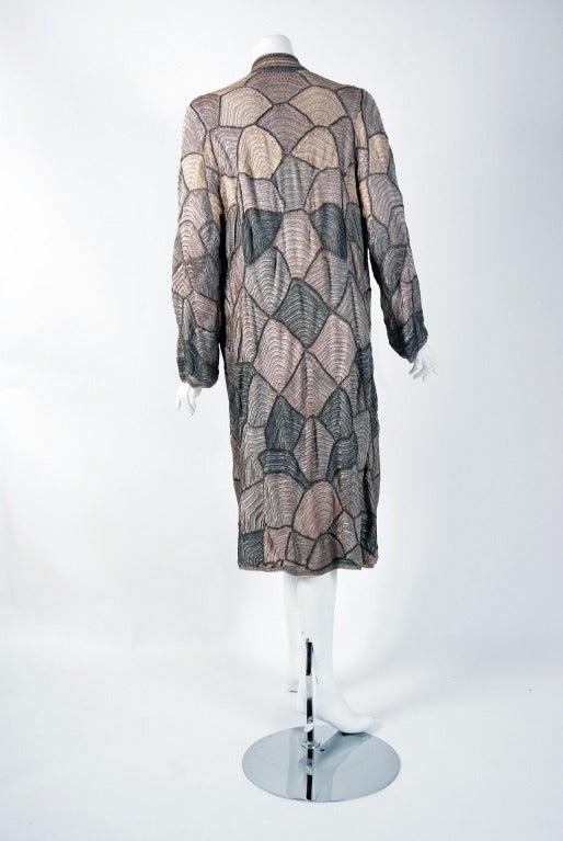 Women's 1920's Austrian Couture Metallic Deco Handmade Crochet Knit Flapper Jacket Coat For Sale