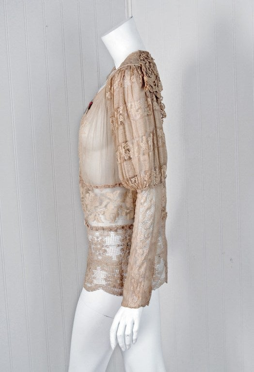 1920's Embroidered Ecru Mixed-Lace Crochet Sheer Puff-Sleeve Bohemian Blouse 3