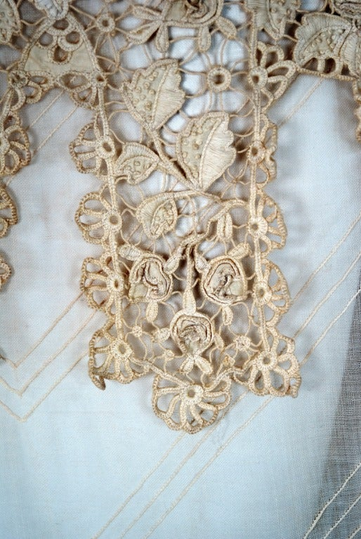 1920's Embroidered Ecru Mixed-Lace Crochet Sheer Puff-Sleeve Bohemian Blouse 4