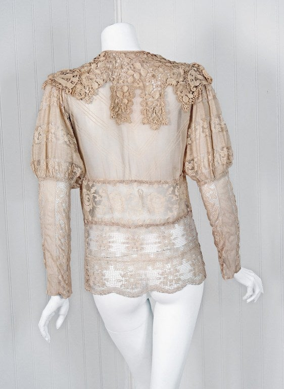 1920's Embroidered Ecru Mixed-Lace Crochet Sheer Puff-Sleeve Bohemian Blouse 5