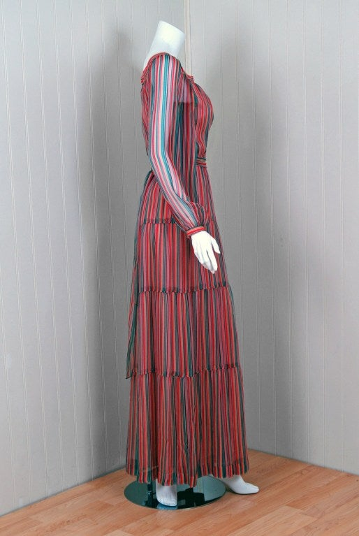 Pink 1970's Givenchy Colorful Stripe Silk-Chiffon Belted Bohemian Goddess Maxi Dress For Sale