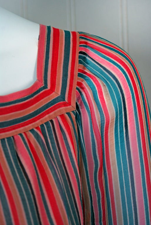 1970's Givenchy Colorful Stripe Silk-Chiffon Belted Bohemian Goddess Maxi Dress In Excellent Condition For Sale In Beverly Hills, CA