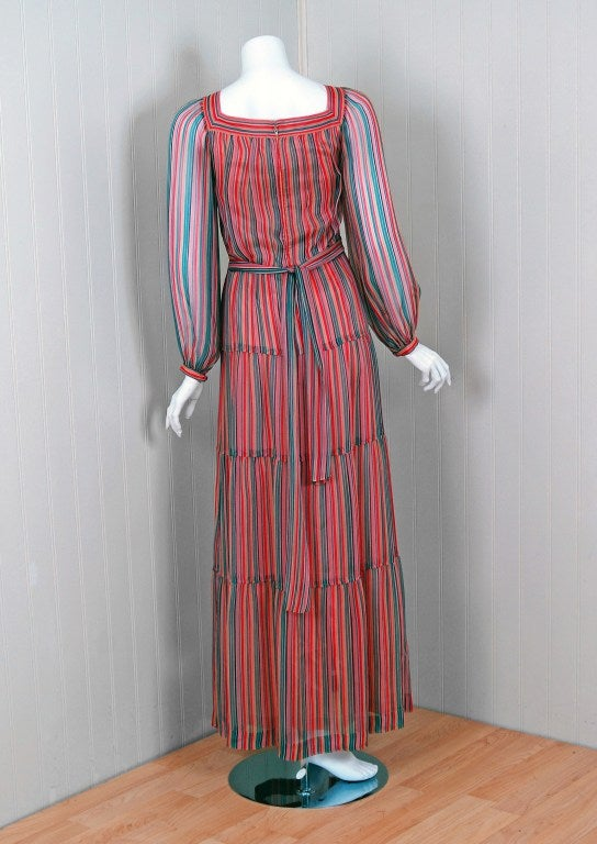 Women's 1970's Givenchy Colorful Stripe Silk-Chiffon Belted Bohemian Goddess Maxi Dress For Sale