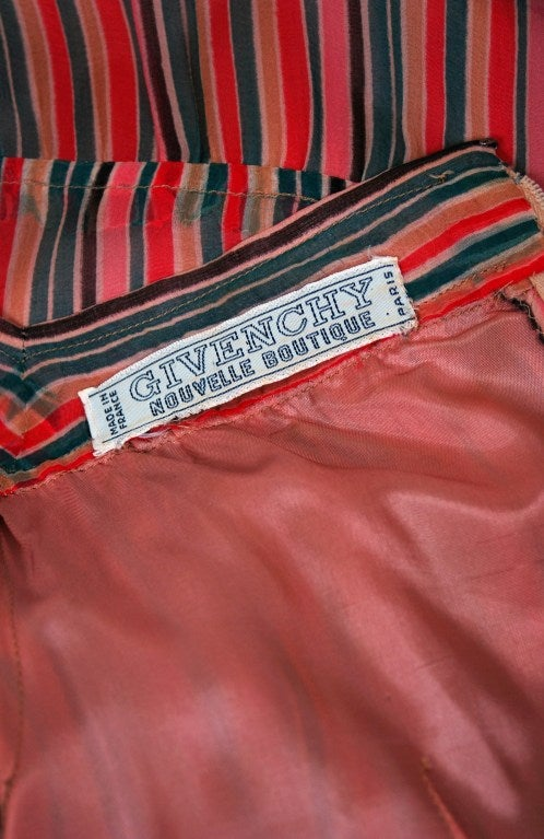 1970's Givenchy Colorful Stripe Silk-Chiffon Belted Bohemian Goddess Maxi Dress For Sale 1