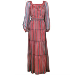 1970's Givenchy Colorful Stripe Silk-Chiffon Belted Bohemian Goddess Maxi Dress