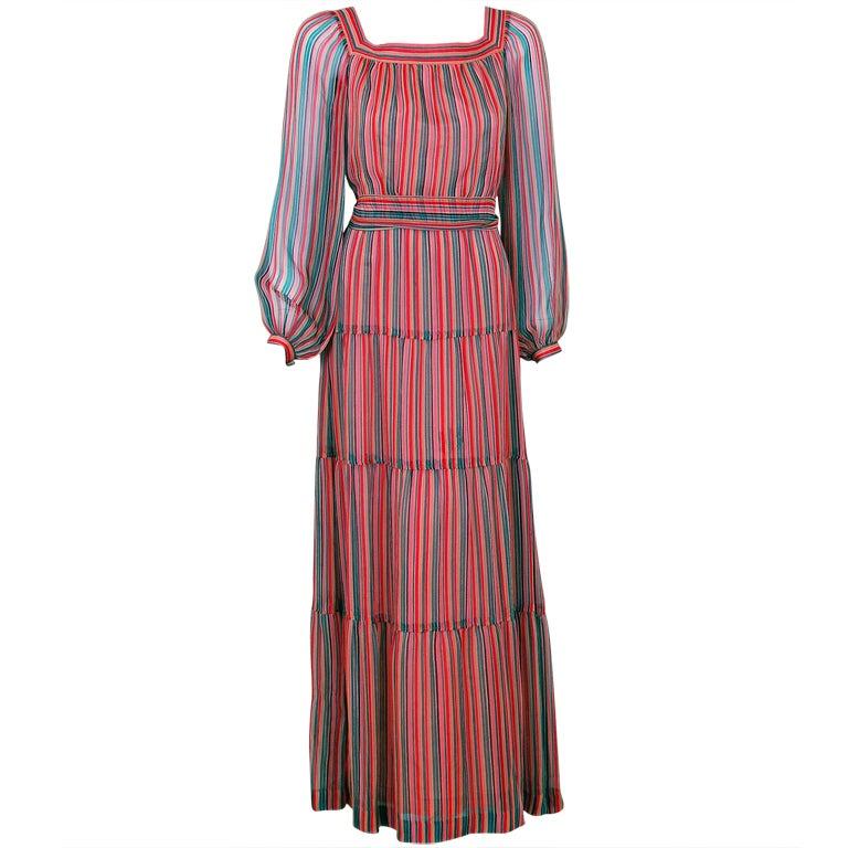 1970's Givenchy Colorful Stripe Silk-Chiffon Belted Bohemian Goddess Maxi Dress