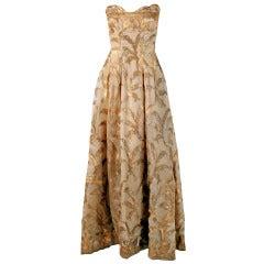 1950's Elizabeth Arden Couture Metallic-Gold Silk Lame Strapless Evening Gown