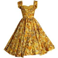 1950's Carlye Marigold-Yellow Floral Print Silk Shelf-Bust Full Party Dress