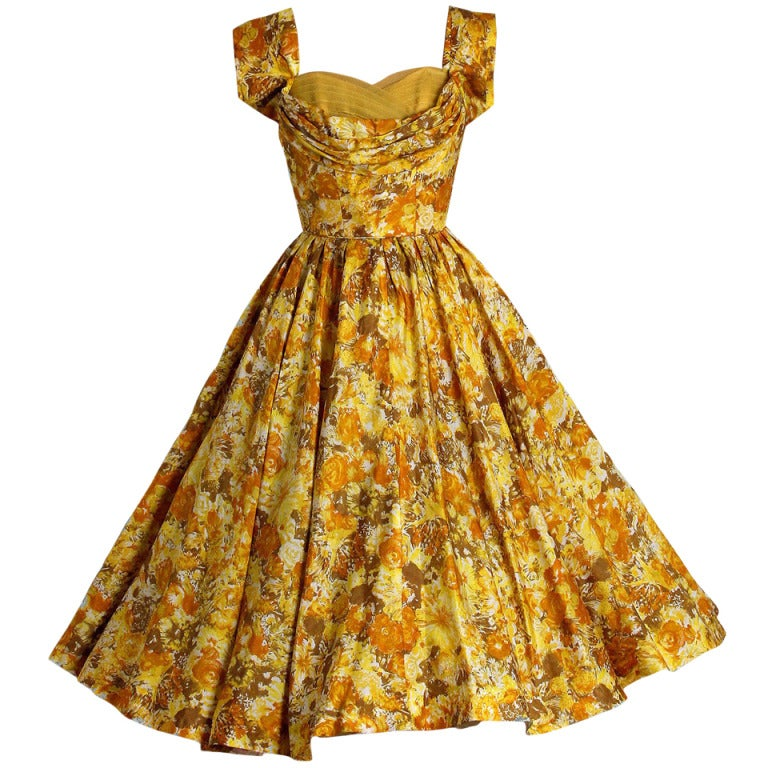 1950's Carlye Marigold-Yellow Floral Print Silk Shelf-Bust Full Party Dress 1