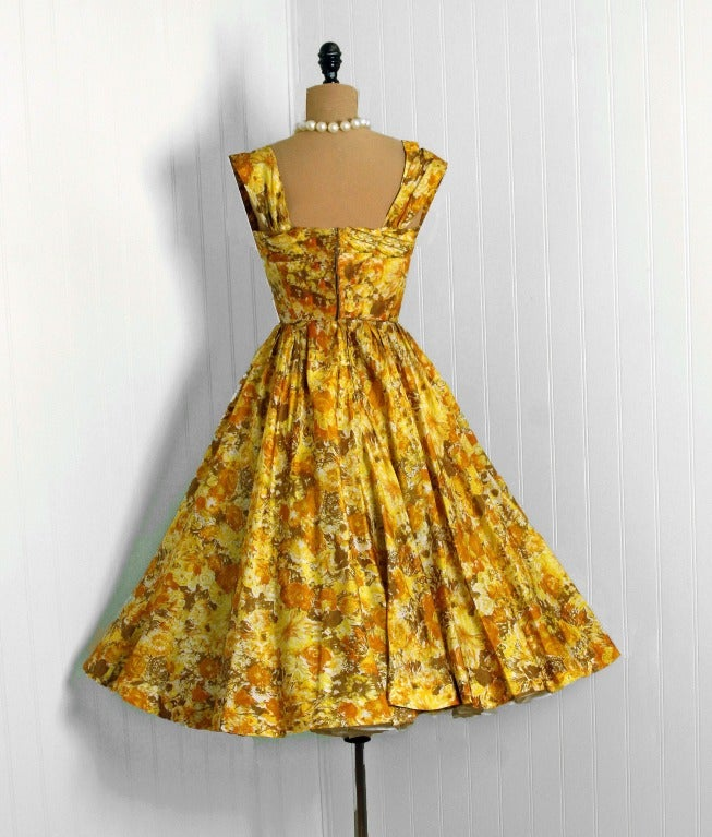 1950's Carlye Marigold-Yellow Floral Print Silk Shelf-Bust Full Party Dress 4